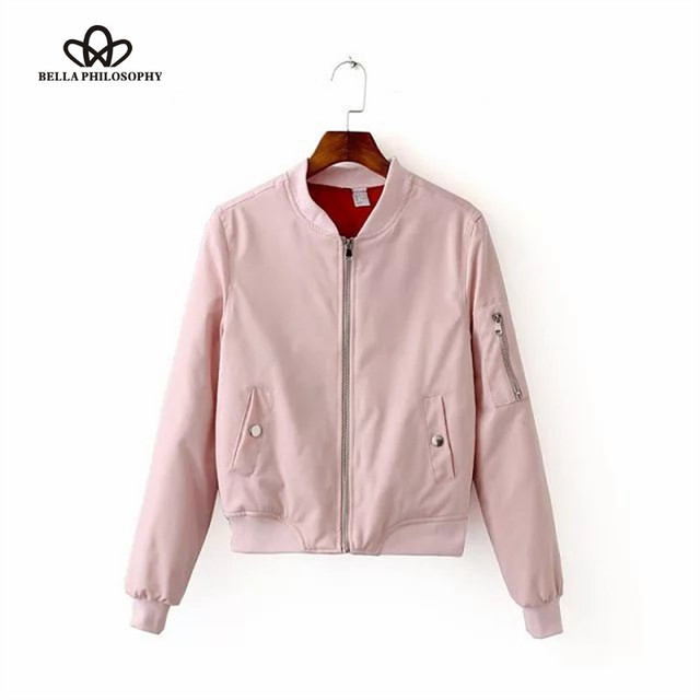 Bella Philosophy 2017 spring new winter zipper padded women bomber jacket black blue pink gray armygreen