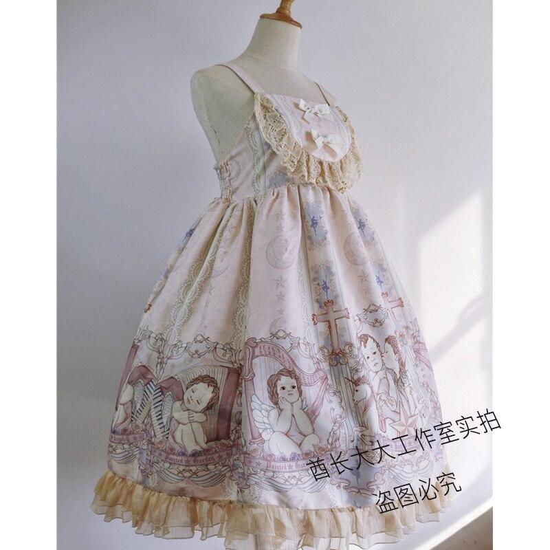 Lolita Zwei stück Anzug Cartoon Japan Stil Mädchen Kleid Spaghetti Strap + Top Süße Nette Spitze Rüschen Frau Kleid temperament Kleid - 5