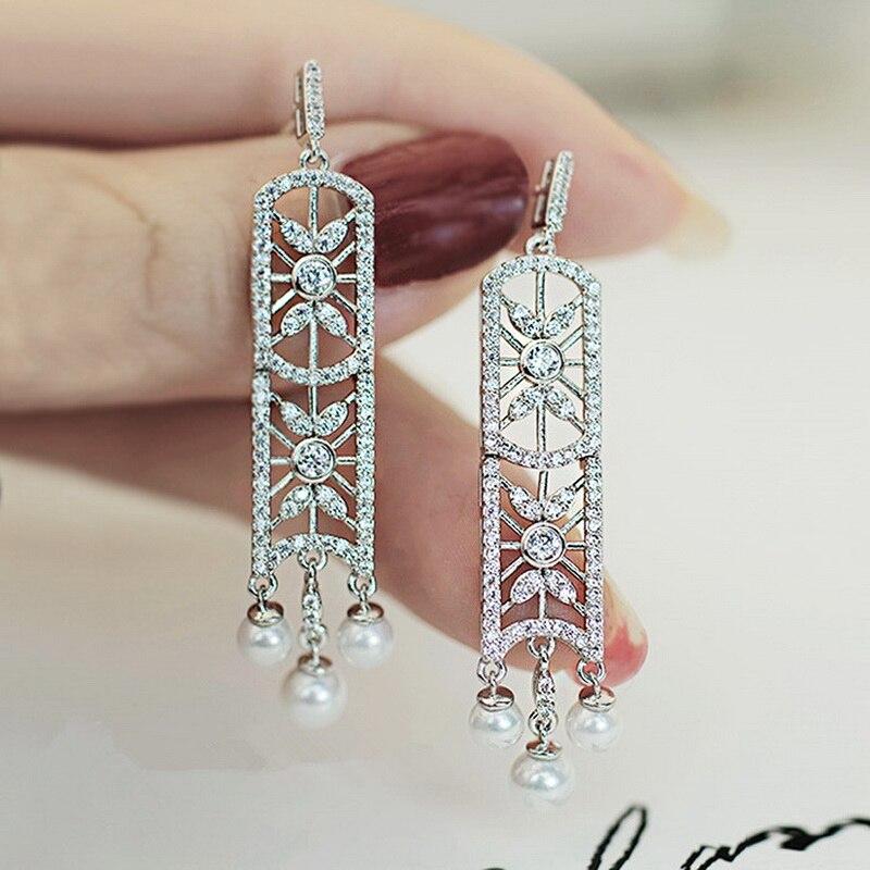 Nouvelle Arrivée Plein Cristal Creux Bouclier Longues Boucles D'oreilles De Mode Simulé Perle Gland Boucle D'oreille Bijoux