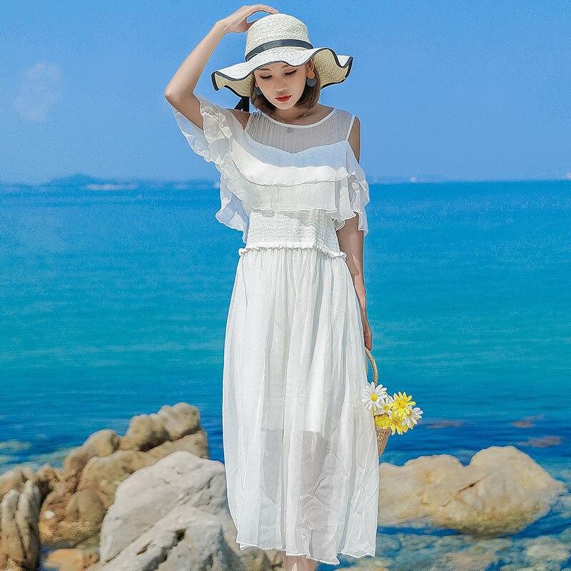 Robe en soie 2019 printemps été femmes longue décontracté sexy en mousseline de soie robes de plage bohème plus grande taille boho blanc sans bretelles mode - 3