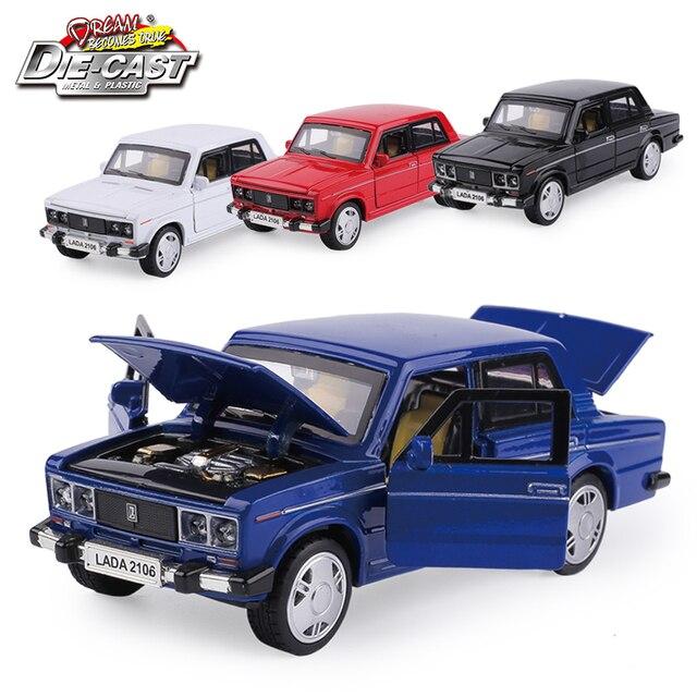 15CM Rusia LADA 2106 Diecast modelo coche, coche de Metal, niños juguetes de regalo con puerta de fácil apertura/Pull Back función/música/luz