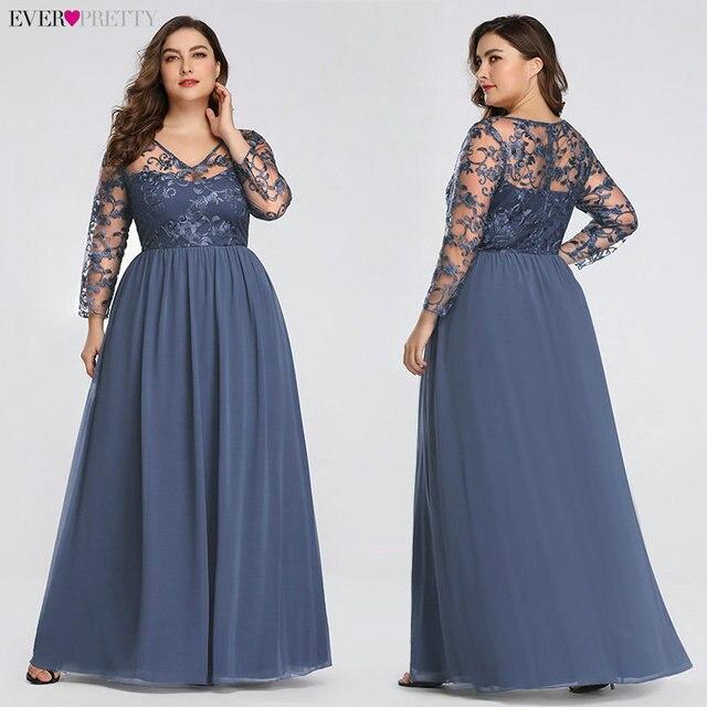 Plus Size Mother Of The Bride Dress Ever Pretty EZ07633 Elegant A-line Lace Appliques Long Party Gowns 2020 Vestido De Madrinha 3