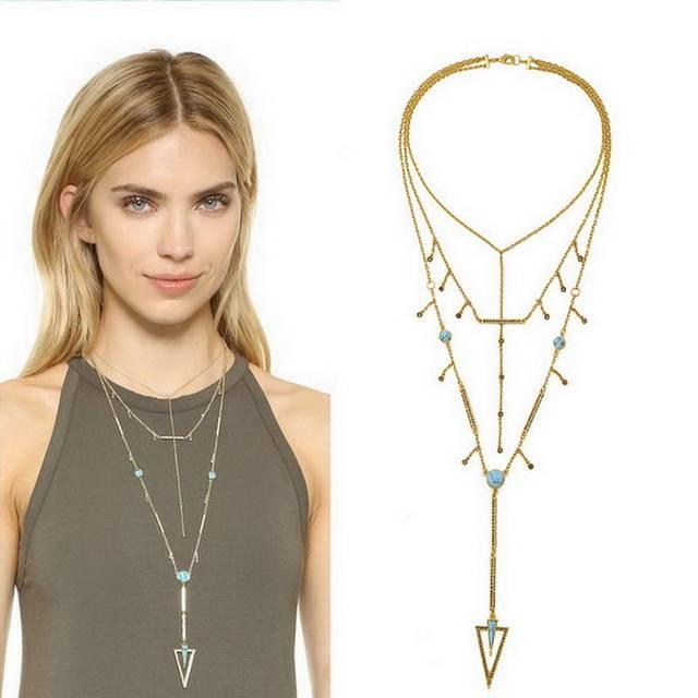 Оптовая Brand Stella Ювелирные Изделия Многоуровневая Кристалл Кисточкой Бирюзовый Dot Треугольник Кулон Ожерелье для Женщин