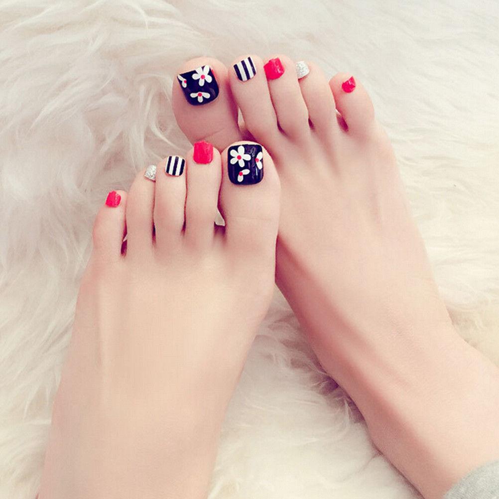 Health Beauty Nail Toe Art: 24pcs Natural Acrylic False Toe Nails Tips Art Decor