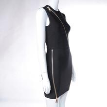 New Autumn Front Zipper Celebrity Black Bandage Bodycon Dress