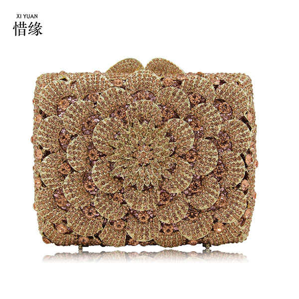 XIYUAN DEDAK Mewah Designer Berlian Kristal Emas Perak clutch purse Wanita Wedding Bridal Party Day Kopling Prom Bahu Tas
