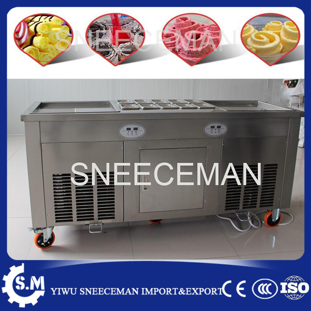 double pan fried ice roll pan machine stainless steel 45cm pan fried frying ice cream machine with salad fruit workbench 10pcs double pressure ice frying machine double pan fried ice cream machine