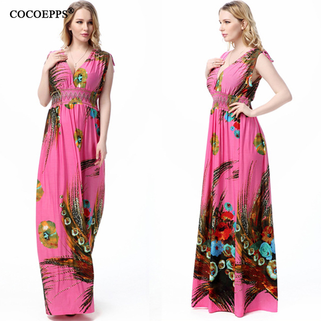 2017 L 7xl Long Plus Size Beach Dresses For Vacation Print Peacock