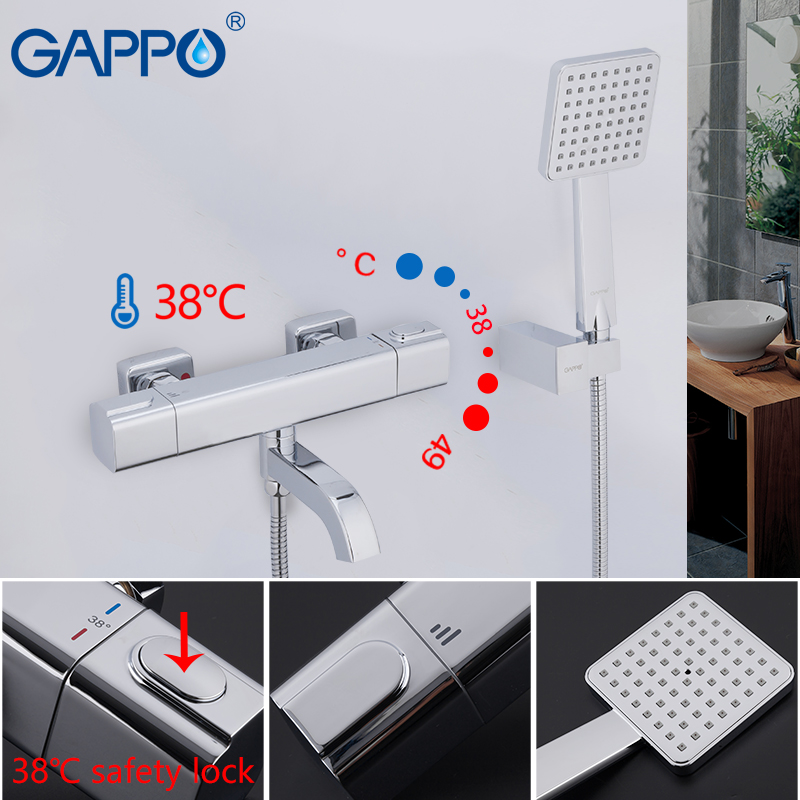 GAPPO Shower system thermostatic shower mixer waterfall bathroom faucet wall shower faucets rainfall thermostat shower setGAPPO Shower system thermostatic shower mixer waterfall bathroom faucet wall shower faucets rainfall thermostat shower set