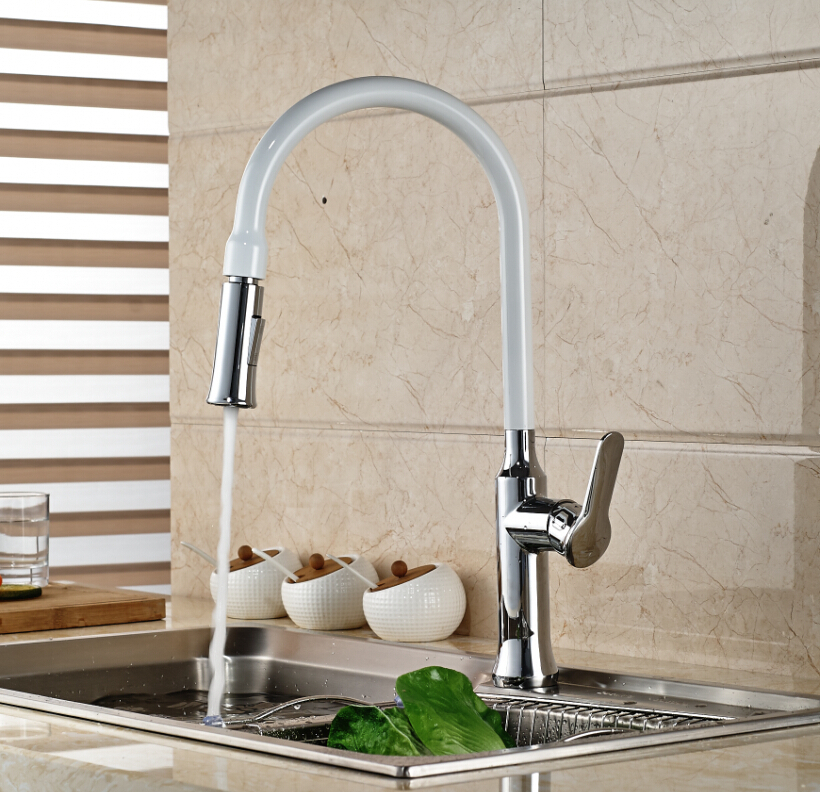 White Painting Solid Brass Kitchen Faucet Swivel Spout Vessel Sink Mixer Tap Deck Mounted One Handle led spout swivel spout kitchen faucet vessel sink mixer tap chrome finish solid brass free shipping hot sale