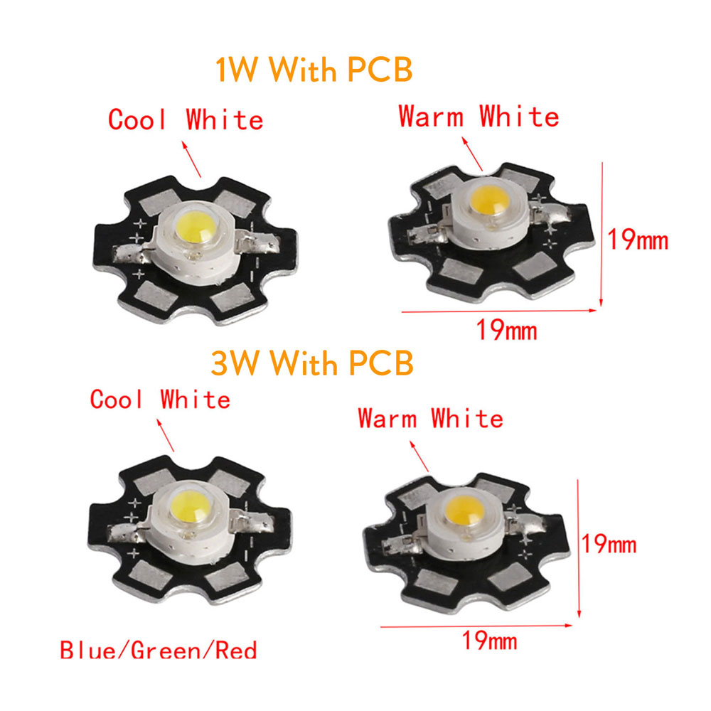 10Pcs 1W High Power LED Diodes Chip Warm White Red RGB Royal Blue Beads With PCB