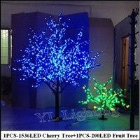 2Meter LED Cherry Tree +0.8Meter 200LED Fruit tree indoor christmas holiday decorative blossom tree lights Europe