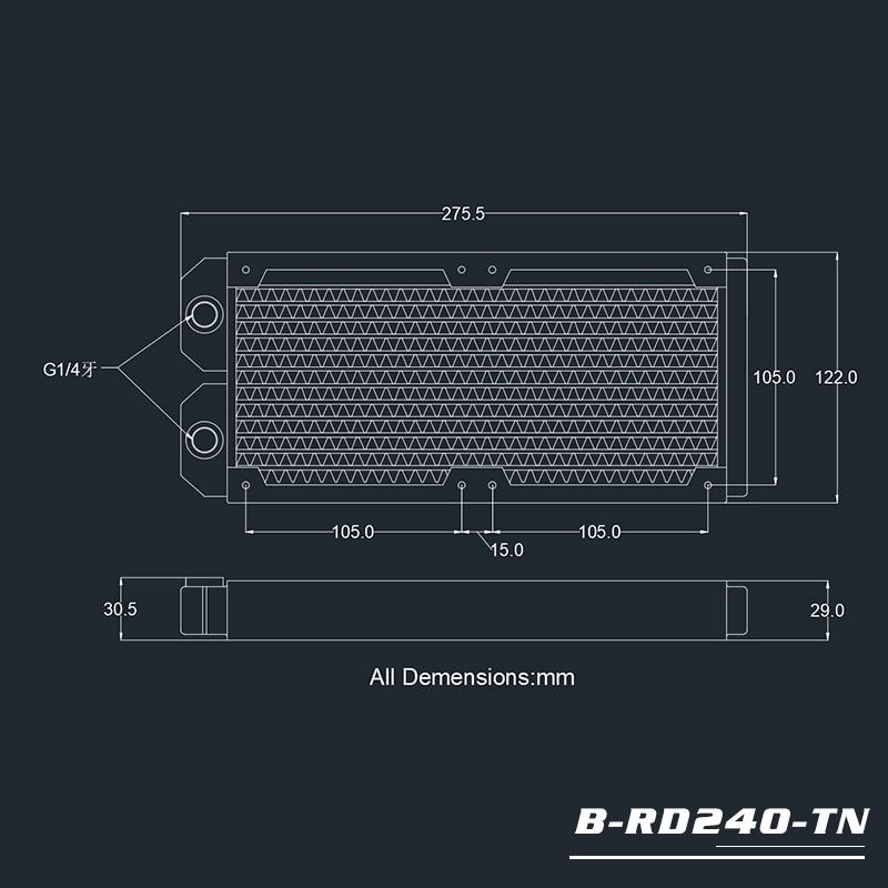 Купить с кэшбэком BYKSKI 28mm Thick Copper 240mm Computer Water Discharge Liquid Heat Exchanger Single Row Radiator for 12cm fans B-240RD-M