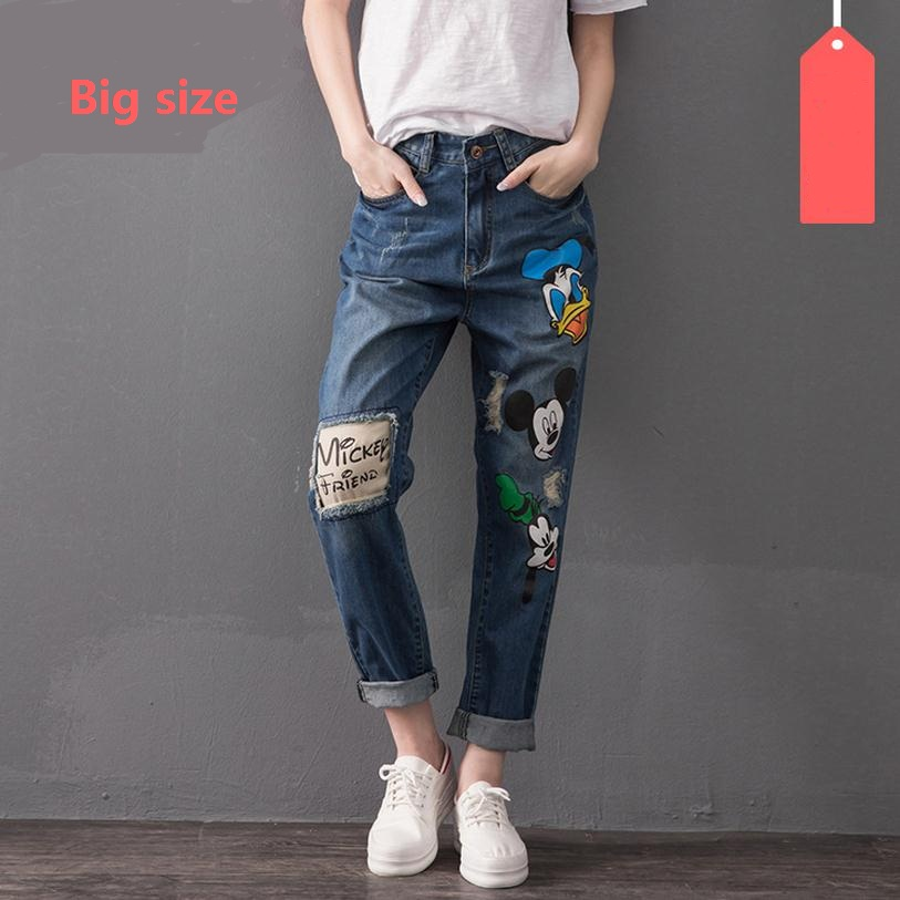 6XL 7XL plus size cotton cartoon pattern Ankle Length Pants jeans no stretch HIGH quality jeans