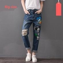 6XL 7XL плюс размер хлопок мультфильм pattern Лодыжки Длины Брюки джинсы не стрейч джинсы ВЫСОКОГО качества w1181