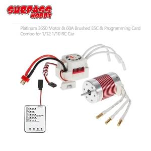 Image 1 - SURPASSHOBBY platin su geçirmez serisi 3650 3900KV 4300KV 5200KV fırçasız Motor 60A ESC programlama kartı için 1/10 RC araba tekne