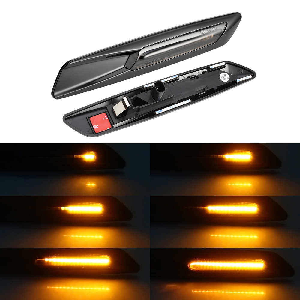 2 PCS Dynamic LED Side Marker Sequential Indicator Amber Flowing Turn Signal Light Smoke Lens Style Black 18 SMD For B MW 1 3 5 Series E81 E82 E90 E91 E92 E93 E60 E61