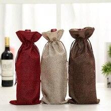 Из натурального джута тканые мешки с кулиской Лен вино упаковочные мешки 15x35 см чехлы для бутылки шампанского Мешковина из натуральной ткани чехол Бургунди, коричневый, белый, красный