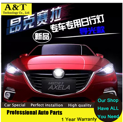 car styling 2014-2016 New For Mazda 3 Axela led Daytime Running Light led Fog light LED DRL fit For Mazda axela new brand led daytime running light drl for mazda 3 axela 2014 16 with yellow turn signal guiding bar design top quality