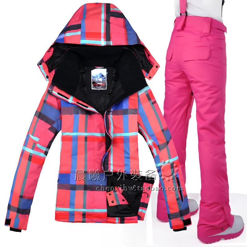 Prix pour Gsou snow femmes nouveau style veste + pantalon super chaud snowboard ski costume coupe-vent imperméable à l'eau en plein air vêtements de sport camping équitation