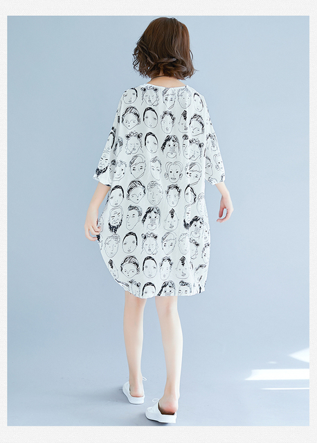 Cute Print Batwing Sleeve Cotton & Linen Plus Size Dress Summer Large size O-Neck Lagenlook New Loose Jumper Tunics Dress 3