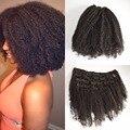 3c, 4a, 4b, 4c afro kinky curly grampo em extensões do cabelo humano preto natural indiano cabelo encaracolado grampo em extensões do cabelo