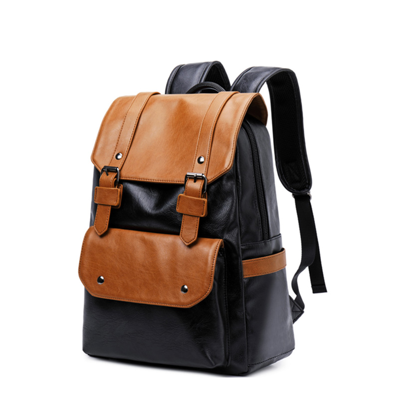 Fashion panelled PU men leather backpack for 14 laptop 2019 Waterproof travel mens backpack school bag large capacity bagFashion panelled PU men leather backpack for 14 laptop 2019 Waterproof travel mens backpack school bag large capacity bag