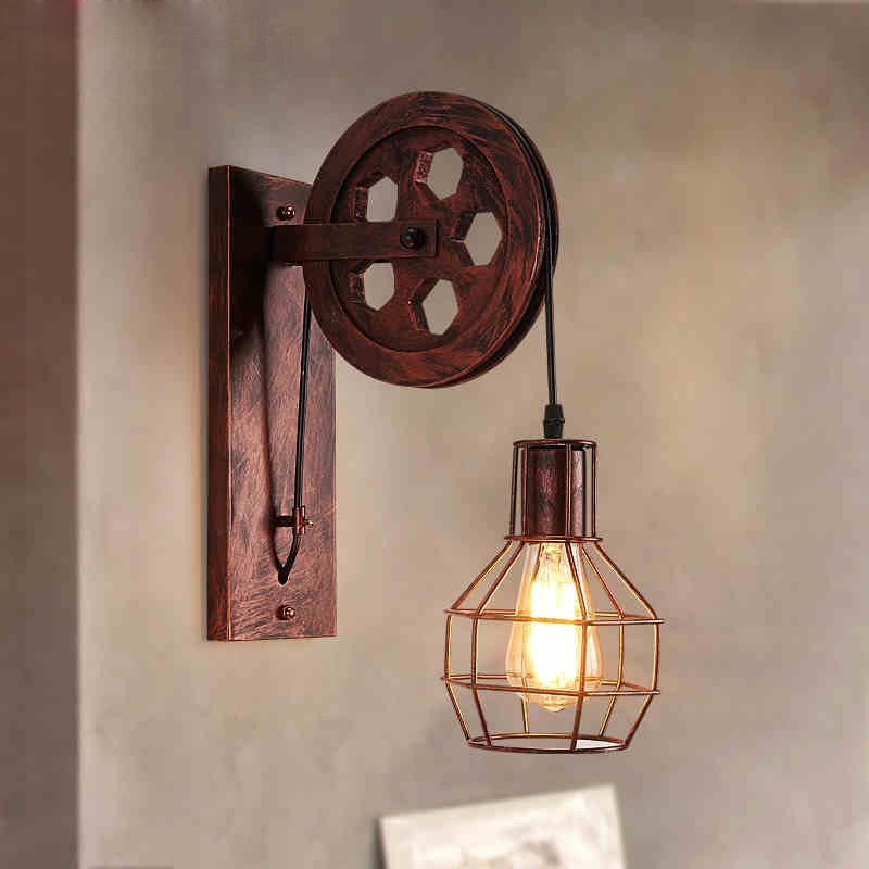 Official Website Wall Lamp Vintage Industrial Decor Led Wall Lights For Home Wandlamp Retro Pulley Applique Murale Luminaire Luminaria Led Abajur To Have A Unique National Style