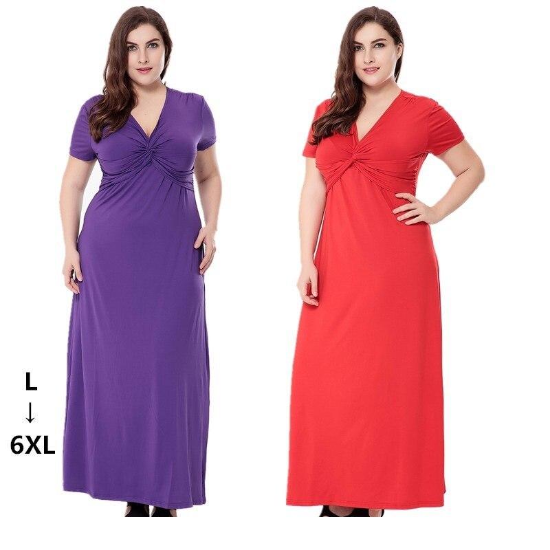 9c8607c05f46f US $21.98 43% OFF|2017 Sexy V Neck Milk Silk Summer Long Dress Solid Short  Sleeve Tunic Maxi Dress Plus Size Casual Bodycon Dresses 4XL 5XL 6XL-in ...