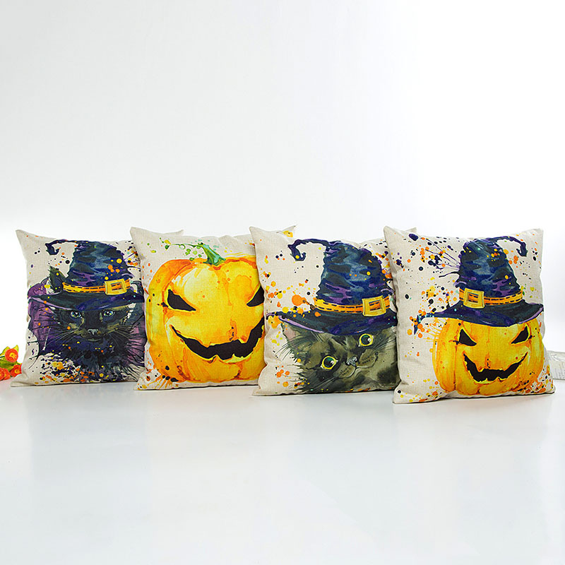 Halloween Pumpkin Cotton Cushion Cover Square Pillowcase Sofa Car Pillow Cover Throw Pillow Case Home Decor F