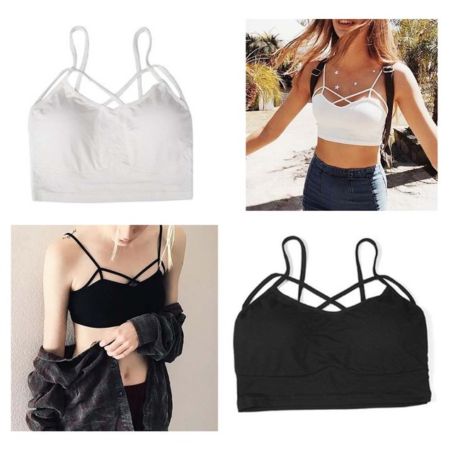 hottest Camisoles Modal Cross harness Wrapped Women Intimates Sexy Short tankstrap Shirt Bra With chest pad tank Tube Tops