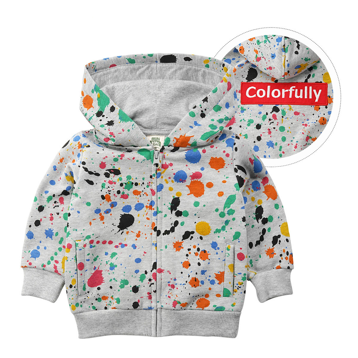 Fashion Outfit Boy And Girls Long Sleeves Coats Childrens Wear Clothes Jacket Spring And Autumn Hooded Coat Zipper Baby Blouse