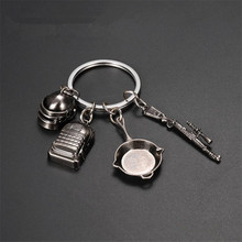 Game PUBG Key Chain Frying Pan Backpack Helmet Playerunknown's Battlegrounds Cosplay Props Alloy Armor Model 98K Key Chain Suit