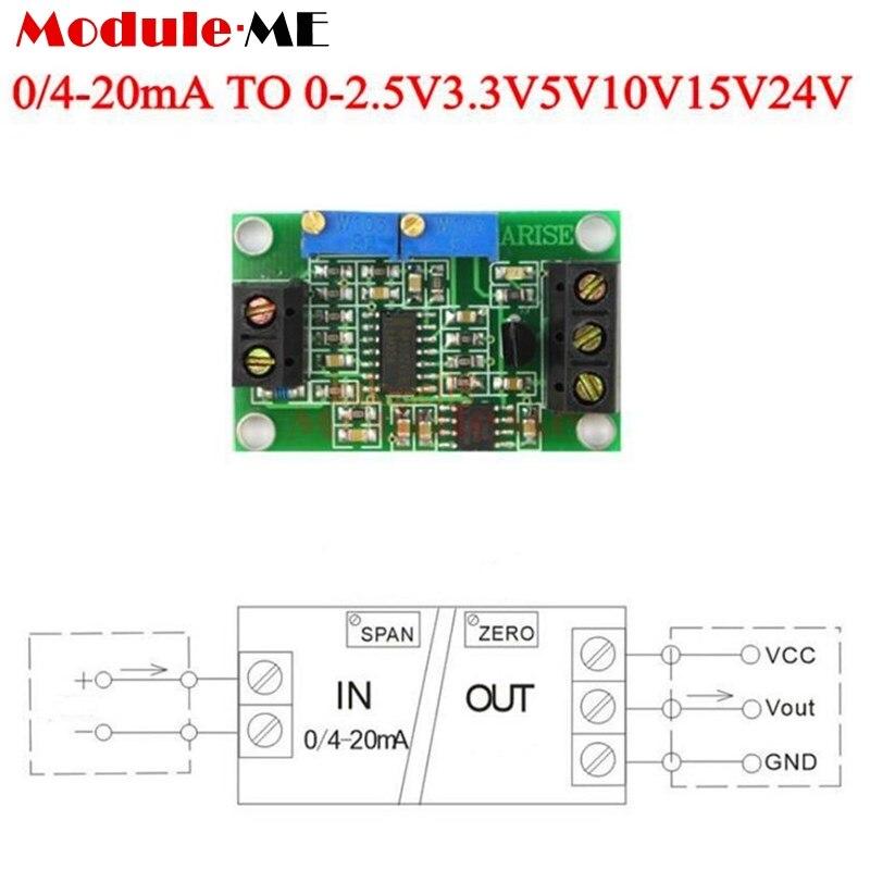 diymore Current to Voltage 4-20mA to 0-2.5V Converter Module DC 7 -3.3V 5V 10V 15V 24V 30V Transmitter Module