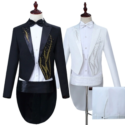 Free shipping mens stage swallowtail jacket with pants/ jacket black/white rhinestone golden suit jacket