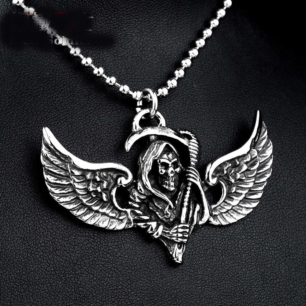 792247613d3e0 ... Stainless Steel Necklace Feather Wing Skull Pendant Men Punk The Death Personality  Jewelry