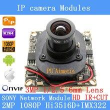 """1/2.8 """"SONY Hi3516D + IMX322 Placa do Módulo de Câmera IP ONVIF P2P 1080 P IP Câmera de 3MP 6 MM lente da câmera de segurança de 2MP"""