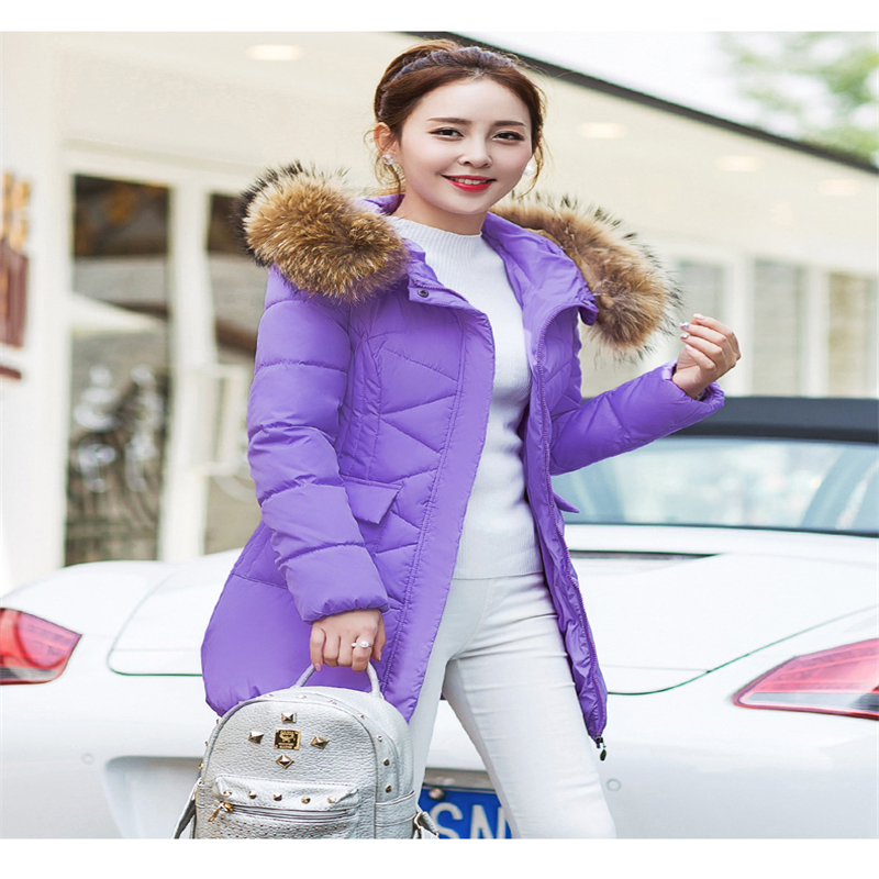ФОТО 2016 Fashion New Down Jacket Fur Collar Slim Women's Cotton-padded Jacket Thickening Outerwear Women Winter Coat A005