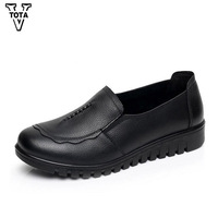VTOTA Spring Autumn Women Shoes Genuine Leather Loafters Women Casual Shoes Handmade Soft Comfortable Ladies Shoes