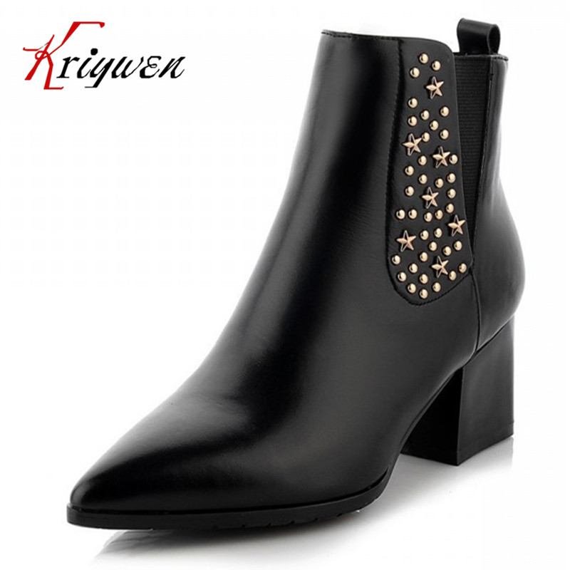 100% real leather new hot Women Ankle Boots Solid lady work Shoes Thick High Heels Autumn Spring rivet Party