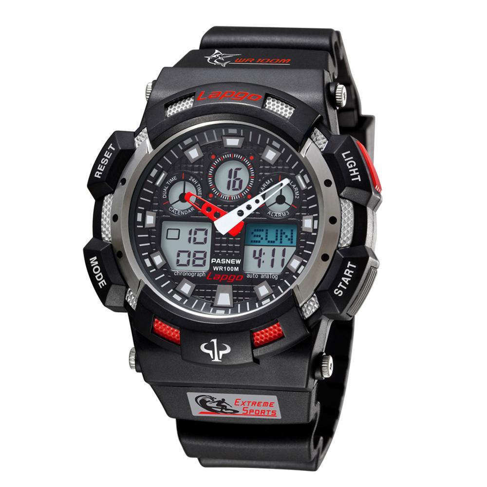 Top Luxus Marke PASNEW Männer Uhren Männer Sport Uhren Dual Display Quarzuhr 100 m Wasser Widerstand Tauchen Schwimmen Uhr