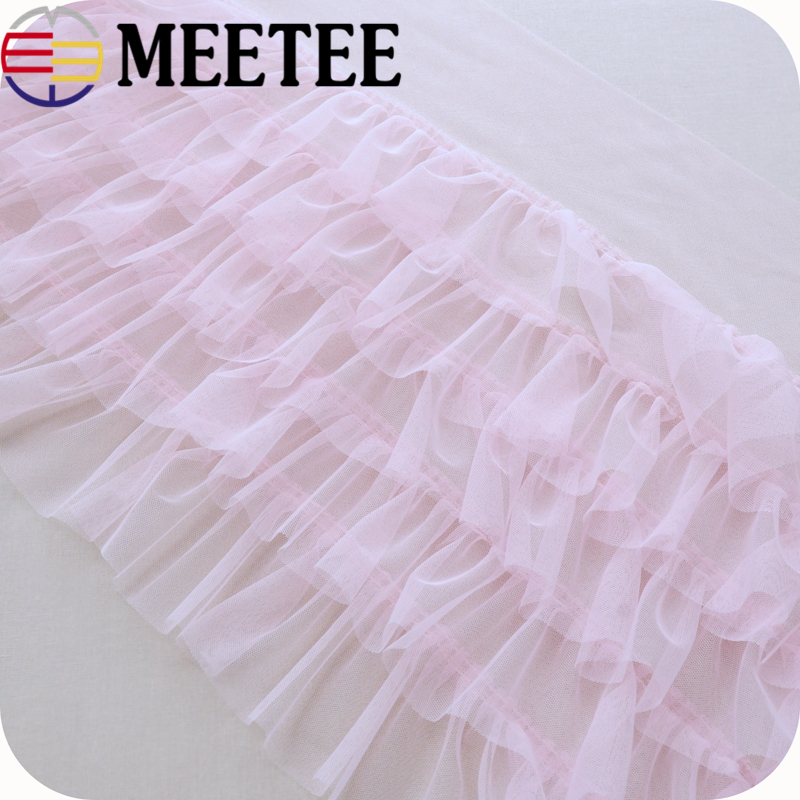 35cm 5 Layer Mesh Lace 3D Ruffle Lace Pleated Lace Fabric DIY Handmade Sewing Clothing Skirt Dress Curtains Accessories Material