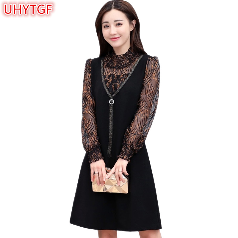 UHYTGF Casual Spring Autumn <font><b>Lace</b></font> <font><b>Dress</b></font> Women Plus size <font><b>Dresses</b></font> For Women 4XL <font><b>Female</b></font> <font><b>Mini</b></font> <font><b>Lace</b></font> <font><b>Dress</b></font> <font><b>Sexy</b></font> <font><b>Party</b></font> <font><b>Dresses</b></font> Elegant50 image