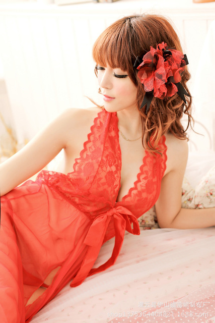2017 New Real Langerie Baby Doll Lace Halter Backless Sexy Underwear Pajamas And Can Increase Fertilizer L8056