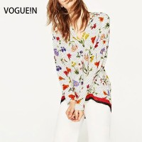 VOGUE N New Womens Floral Polka Dot Print Long Sleeve Pullover Blouse Tops Shirt Size SML