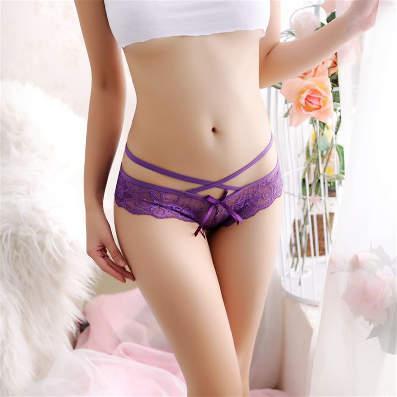 Fashion Bandage Sexy Lace Transparent Women G string Straps Ladies Briefs T Back Hollow Panties