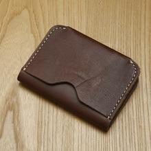 Lanspace hombres titular de la tarjeta de cuero genuino titulares de tarjetas de identificación monederos titulares monedero hecho a mano