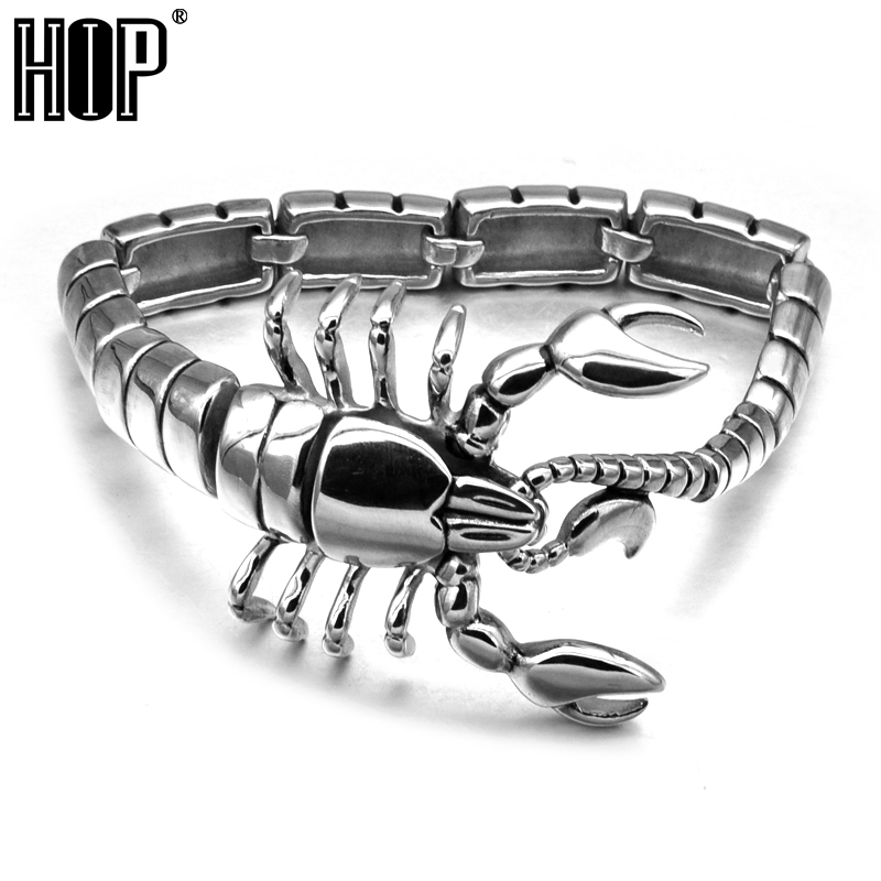 HIP Punk Gothic Scorpion Men's Chain Bracelet Bangle Silver Plated Stainless Titanium Steel Metal цена и фото