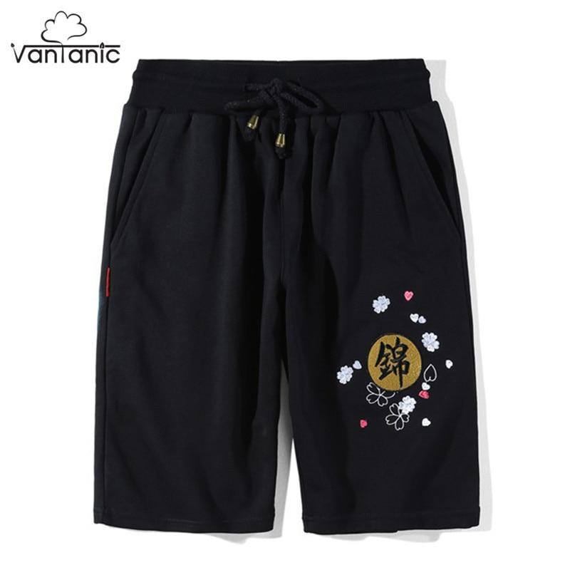 Vantanic Mens Shorts Black M-3XL Fish Embroidery Chinese Style Shorts Men short masculino ropa hombre Drawstring Waist FX512