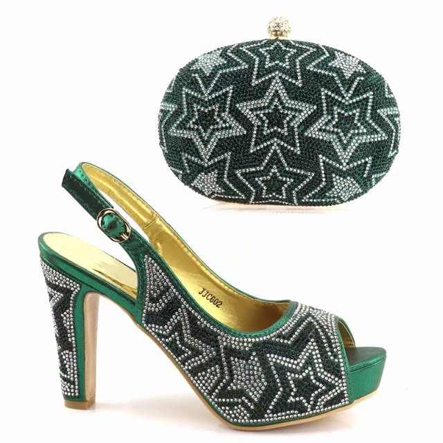 African Dark green Shoes and Bag Matching Set with Stones Shoes Women Italian Shoes and Bag Set for Party Wedding